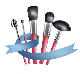 Set of makeup brushes and blue ribbon. Accessory, tool, complexion.