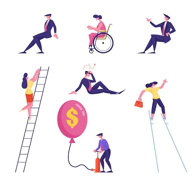 Набор мужчин и женщин деловых людей, восхождение по лестнице