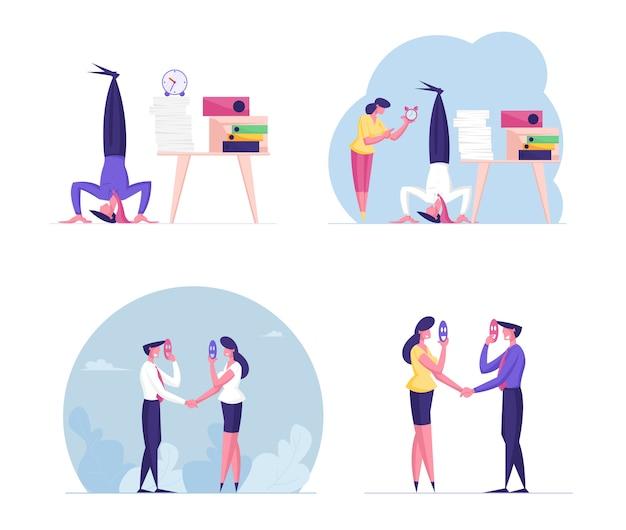 Множество деловых людей мужского и женского пола выражают лицемерие и прокрастинацию в офисе