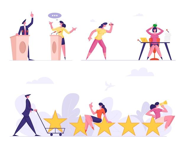 Набор деловых людей мужского и женского пола, выступающих на предвыборных дебатах, стоят на трибунах