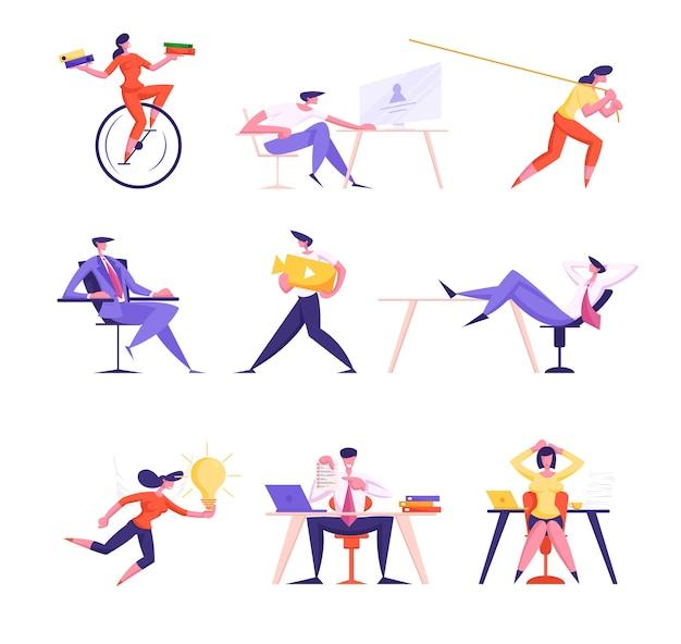 Набор мужчин и женщин деловых людей, езда на велосипеде с моноколесным колесом