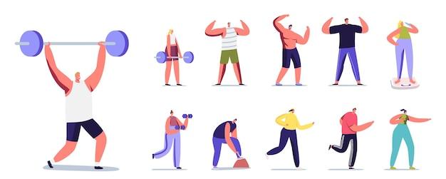 스포츠를 하는 남성과 여성 캐릭터의 집합입니다. 바벨과 함께 운동하는 남성 또는 여성, 달리기, 포즈를 취하고 완벽한 몸을 보여주고 흰색 배경에 격리된 저울에 무게를 잰다. 만화 사람들 벡터 일러스트 레이 션