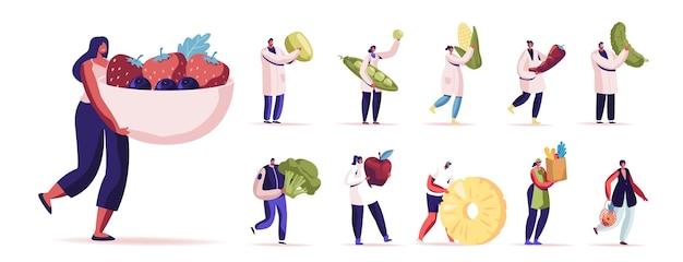 건강 식품을 먹는 남성과 여성 캐릭터의 집합입니다. 에너지와 건강, 흰색 배경에 고립 된 채식 다이어트의 과일과 야채 소스를 가진 남자와 여자. 만화 사람들 그림