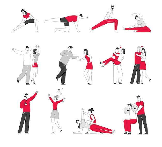 체육관에서 운동하는 남성과 여성 캐릭터 세트