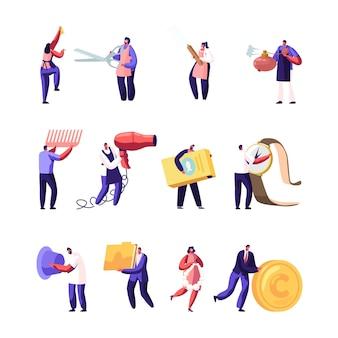 さまざまなものやデバイスを保持している男性と女性のキャラクターのセット。漫画フラットイラスト