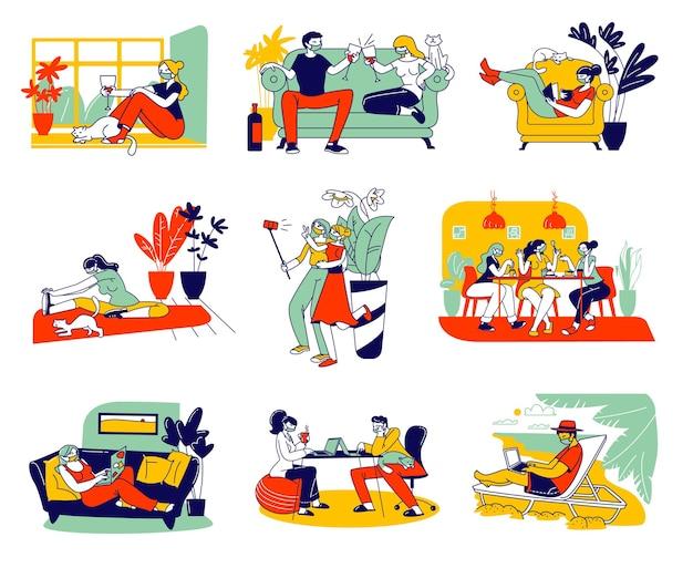 コロナウイルス検疫と在宅自己隔離に関する男性と女性のキャラクターのセット。