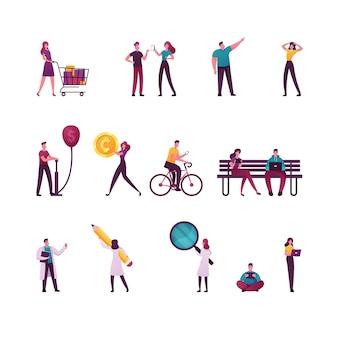 Набор мужских и женских персонажей, делающих покупки в супермаркете, используя гаджеты и беседуя на скамейке.
