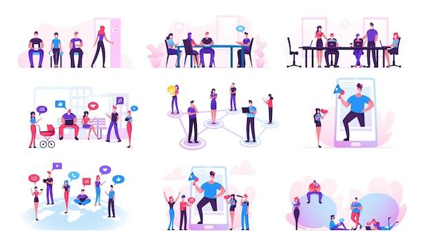 남성 및 여성 캐릭터 세트 소셜 미디어 네트워킹, blogger 발표, covid19 유행성 및 코로나 바이러스 격리 격리 중 온라인 커뮤니케이션.