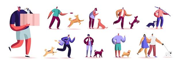 屋外でペットと一緒に時間を過ごす男性と女性のキャラクターのセットです。男性と女性が犬と一緒に歩いたり遊んだり、リラックスしたり、動物の世話をしたりします。白い背景で隔離。漫画の人々のイラスト