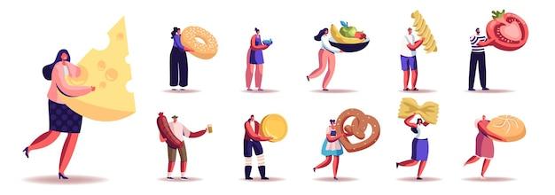 다른 음식과 간식을 가진 남성과 여성 캐릭터의 집합입니다. 남자와 여자는 치즈, 소시지, 과일, 야채, 파스타 또는 흰색 배경에 격리된 빵집을 먹습니다. 만화 사람들 그림