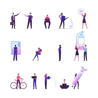 緑のオフィスでラップトップに取り組んでいる男性と女性のキャラクターのセット、植物に水をまく女性、自転車に乗る男性