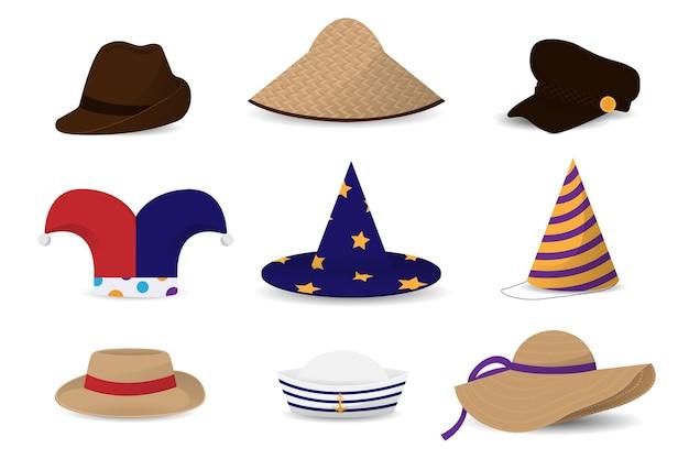 Набор мужских и женских шляп