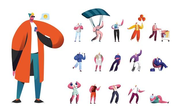 Набор мужских персонажей, мужской образ жизни, люди используют гаджеты, прыжки с парашютом с парашютом, клоун в костюмах и покупки