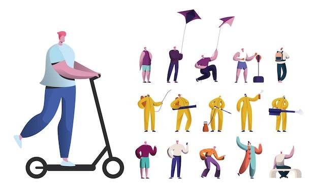 전기 스쿠터를 타고 연을 가지고 노는 남성 캐릭터 세트, 펀칭 백으로 운동. 방호복을 입은 남자들