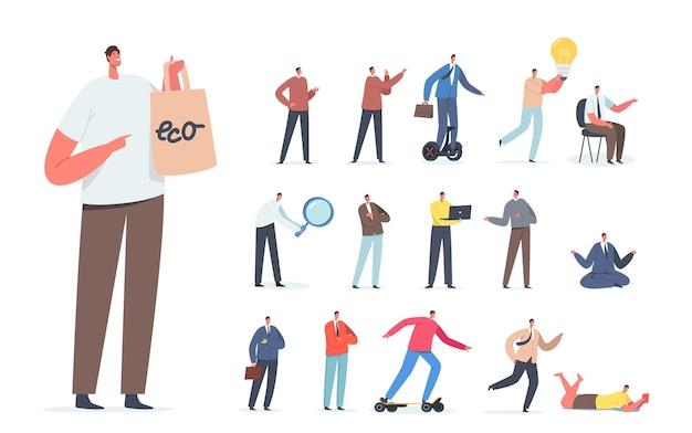 에코백으로 쇼핑하는 남성 캐릭터 세트, 전기 운송, 전구 아이디어, 사무실에서 명상, 흰색 배경에 격리된 돋보기로 탐색. 만화 사람들 벡터 일러스트 레이 션