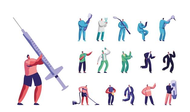 薬のスタッフ、巨大な注射器、ドリルマシン、歯ブラシ、歯科医の鏡を持つ小さな男性の男性キャラクターのセット