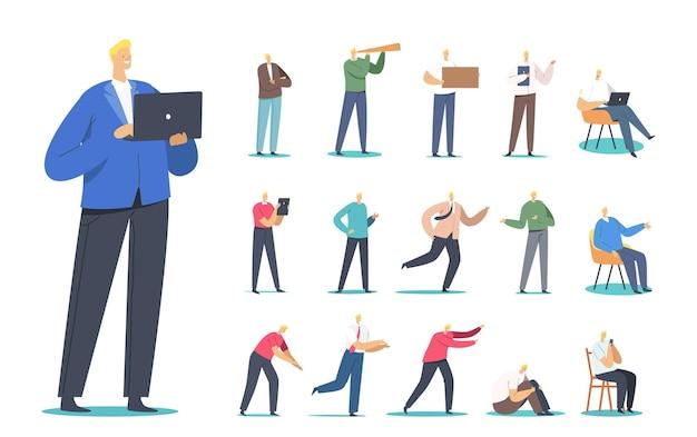 남성 캐릭터 세트는 노트북에서 작업하고, 스마트폰으로 채팅하고, 바닥에 앉고, 의자에 앉아, 달리고, 망원경, 사업가를 보고 있습니다.