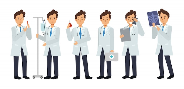Набор мужской доктор характер с разновидностями медицинского оборудования. медицинская иллюстрация.