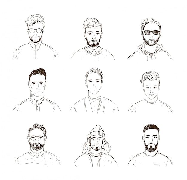 Набор мужских лиц. линейные аватары. line art illustration