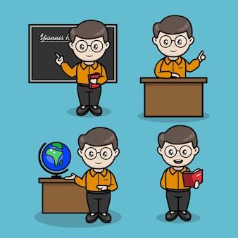 여러 교육 포즈를 가진 남성 교사 세트