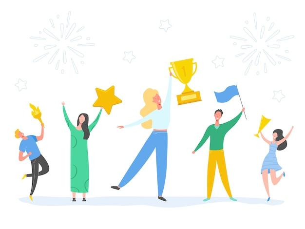 勝利を祝って、報酬、賞品を達成する男女のセット。人の成功の概念図。ビジネスリーダーのキャラクター。ビジネスマンやビジネスウーマンのトロフィーを獲得