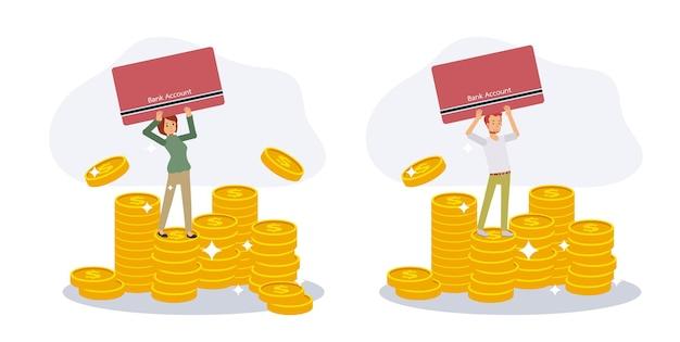 남자와 여자 세트는 은행 통장을 들고 금화 더미 위에 서 있습니다. 저축 돈 개념입니다. 평면 벡터 만화 캐릭터 그림입니다.