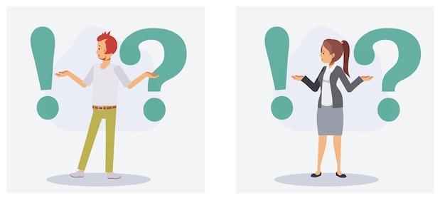 Набор мужчины и женщины сбивает с толку, стоя между восклицательными знаками и вопросительными знаками. концепция вопроса. плоский вектор 2d мультипликационный персонаж иллюстрации.