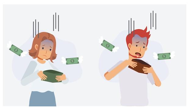 Набор мужчины и женщины беспокоит деньги в кошельке, у них нет денег. отсутствие концепции денег. плоский вектор 2d мультипликационный персонаж иллюстрации.
