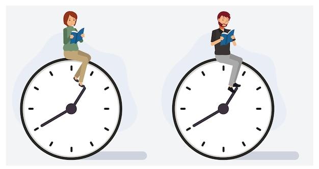Набор мужчины и женщины, читающей книгу на часах. концепция свободного времени. плоский вектор 2d мультипликационный персонаж иллюстрации.