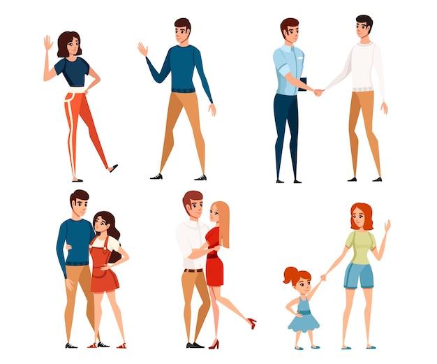 カジュアルな服と子供と男性と女性のセット漫画のキャラクターデザインベクトルイラスト