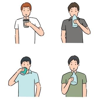 Набор человек пьет Premium векторы