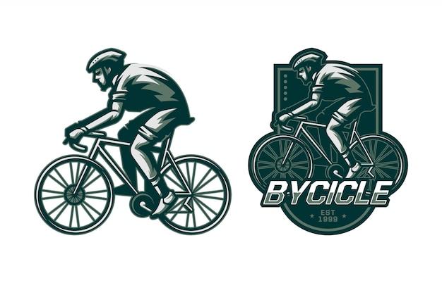 自転車のバッジに乗る男のセット