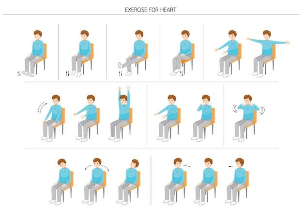 건강을 위해 의자에 앉아서 몸을 움직이는 남자 세트, 건강한 심장을 위한 운동