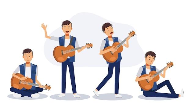 어쿠스틱 기타와 함께 남자의 집합입니다. 기타를 치는 남자. 평면 벡터 2d 만화 캐릭터 그림입니다.