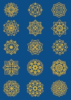 Набор иллюстрации мандалы шаблон процветать цветочные тема