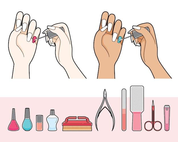 네일 살롱에 대한 매니큐어 및 장비 세트, 그녀의 손톱에 매니큐어를 칠하는 여자
