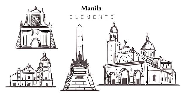 Набор зданий манилы, изолированные на белом