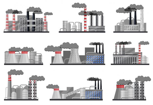 建物、喫煙パイプ、鋼製の貯水槽を備えた製造工場のセット。産業建築