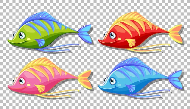 Набор многих забавных рыб мультипликационный персонаж, изолированные на прозрачном фоне