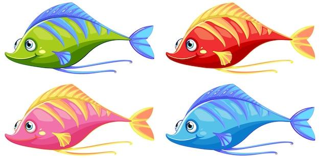 흰색 배경에 고립 된 많은 재미있는 물고기 만화 캐릭터의 집합