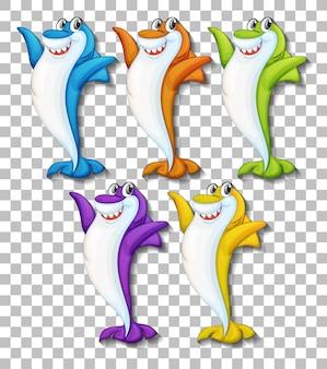 투명 한 배경에 고립 된 많은 웃는 귀여운 상어 만화 캐릭터의 설정