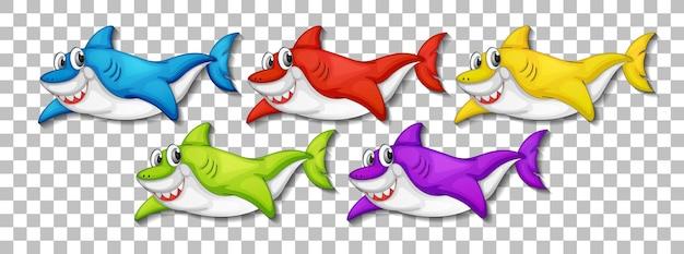 透明な背景に分離された多くの笑顔のかわいいサメの漫画のキャラクターのセット