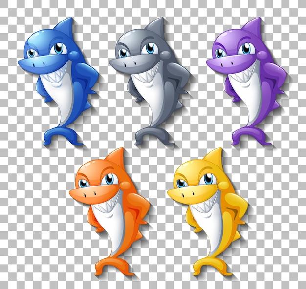 투명 한 배경에 고립 된 많은 웃는 귀여운 상어 만화 캐릭터의 집합