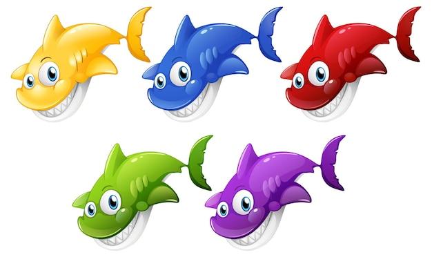 白い背景で隔離の多くの笑顔のかわいいサメの漫画のキャラクターのセット