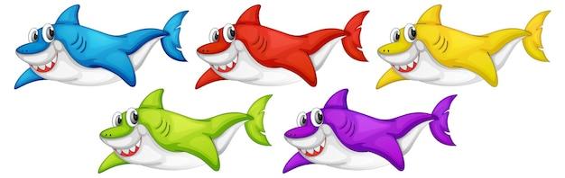 孤立した多くの笑顔のかわいいサメの漫画のキャラクターのセット