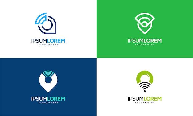 지도 포인터와 wi-fi 로고 조합의 집합입니다. gps 로케이터 및 신호 기호 벡터, signal point 로고