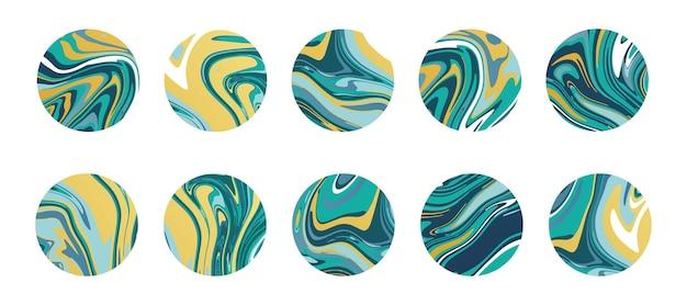 緑と黄色の液体大理石のスラブ、スライスまたはエポキシのテクスチャを持つ大理石の円のセット。ハイライトカバーの抽象的な丸いアイコン。ソーシャルメディアストーリーの背景