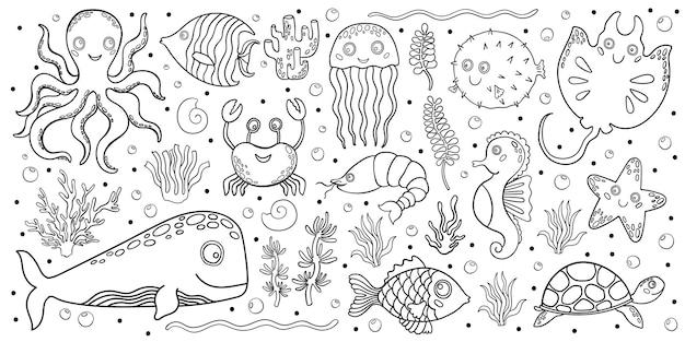 Набор морских подводных животных в мультяшном стиле