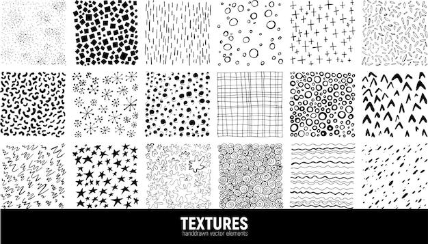 마커 및 잉크 패턴 집합입니다. 손으로 그린.