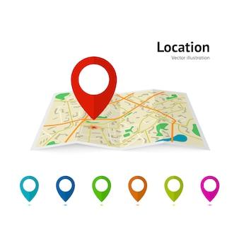 Набор маркерных указателей на карте. современный план контактный указатель дорожная карта. gps навигационные системы.